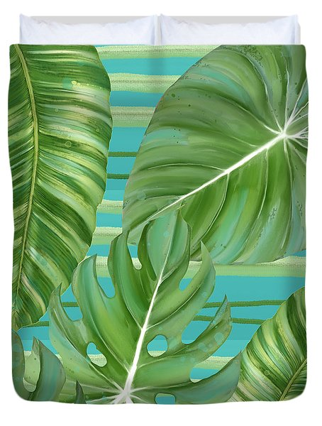 Tropical Leaf Striped Pattern Teal Turquoise Green Duvet Cover