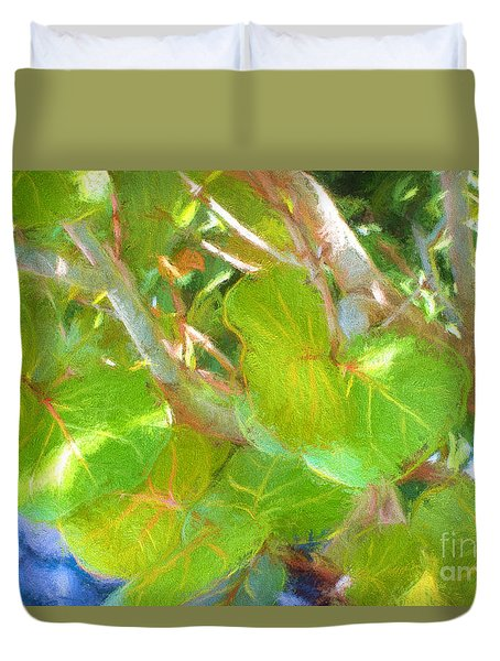 Tropical Leaves Duvet Cover by Linda Olsen