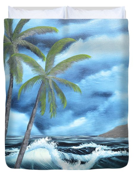 Duvet Cover featuring the painting Tropical by Mary Scott