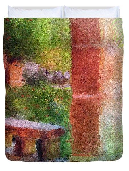 Duvet Cover featuring the digital art Tropical Memories by Lois Bryan