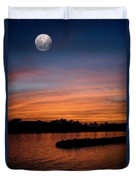 Duvet Cover featuring the photograph Tropical Moon by Laura Fasulo