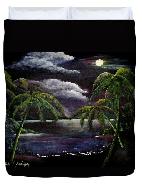 Tropical Moonlight Duvet Cover by Luis F Rodriguez