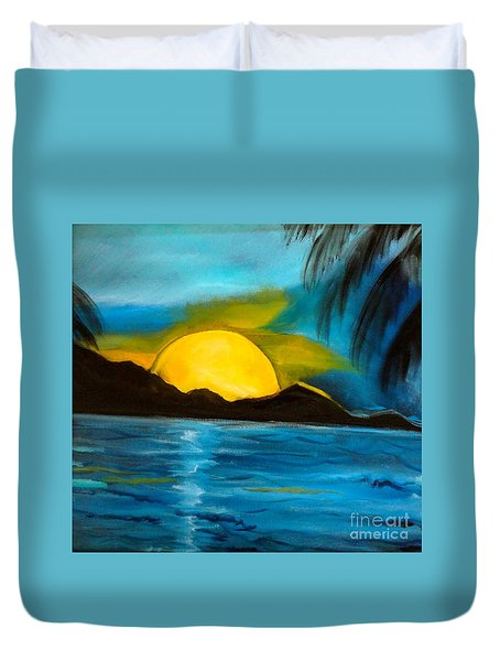 Tropical Moonshine Duvet Cover by Jenny Lee