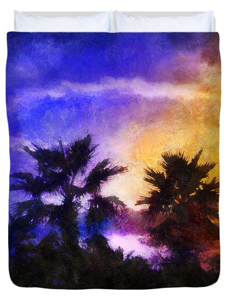 Duvet Cover featuring the digital art Tropical Night Fall by Francesa Miller
