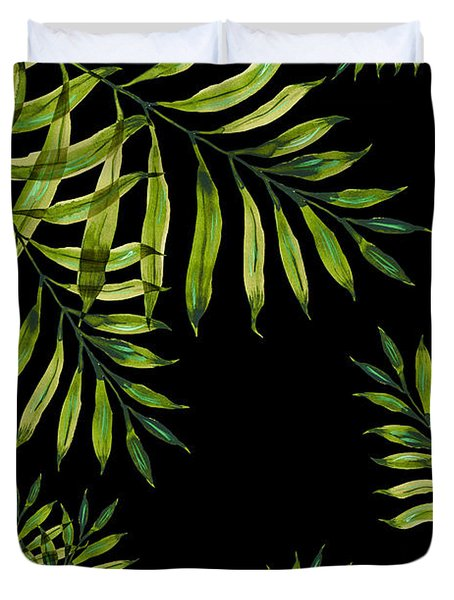 Tropical Night - Greenery On Black Duvet Cover