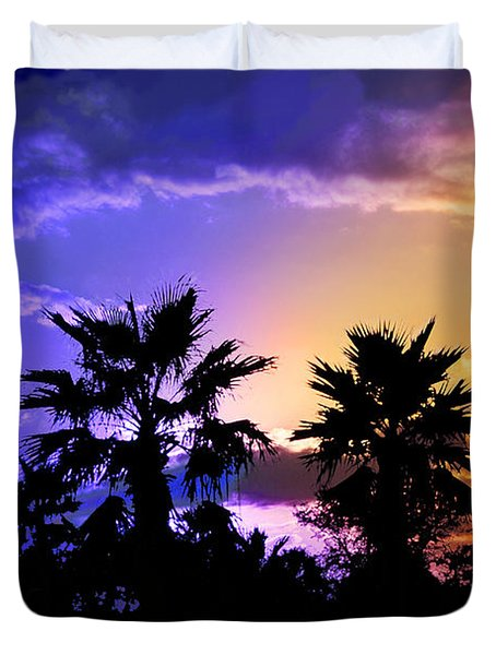 Duvet Cover featuring the photograph Tropical Nightfall by Francesa Miller