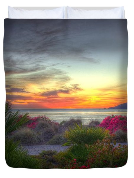 Tropical Paradise Sunset Duvet Cover