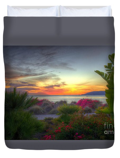 Tropical Paradise Sunset Duvet Cover