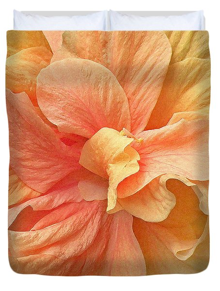 Tropical Peach Hibiscus Flower Duvet Cover