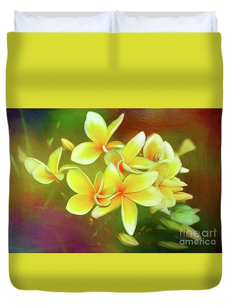 Duvet Cover featuring the photograph Tropical Plumeria Art By Kaye Menner by Kaye Menner