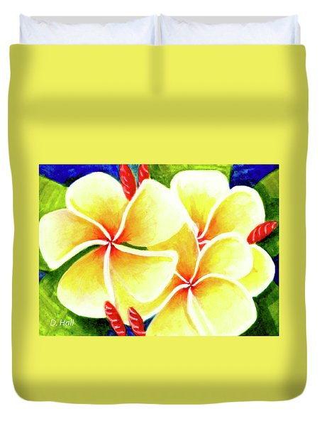 Tropical Plumeria Flowers #226 Duvet Cover by Donald k Hall