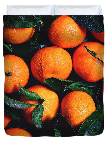 Tropical Poncan Oranges Duvet Cover