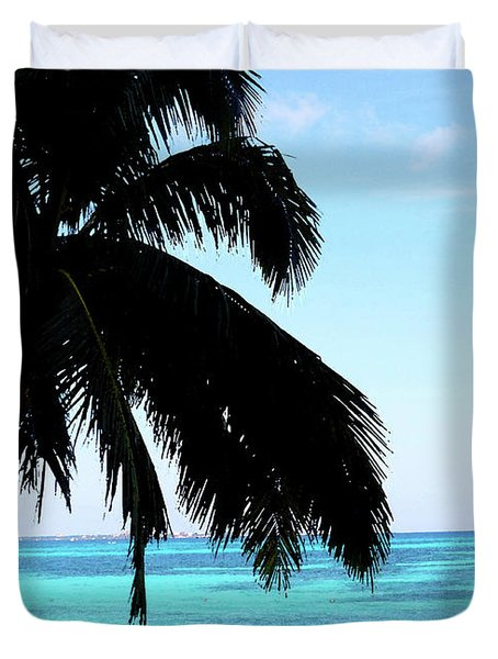 Duvet Cover featuring the digital art Tropical Sea View From Patio by Francesca Mackenney