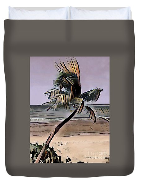 Duvet Cover featuring the digital art Tropical Seascape Digital Art A7717  by Mas Art Studio