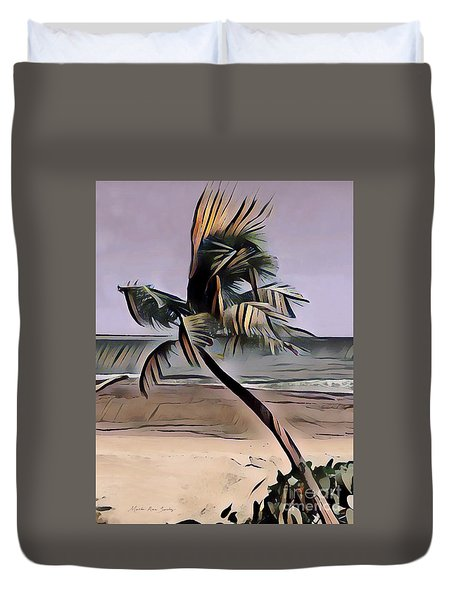 Duvet Cover featuring the digital art Tropical Seascape Digital Art A7717l by Mas Art Studio