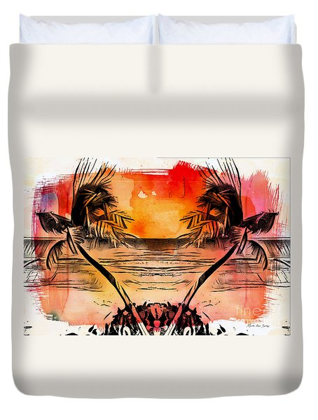 Duvet Cover featuring the digital art Tropical Seascape Digital Art C7717 by Mas Art Studio