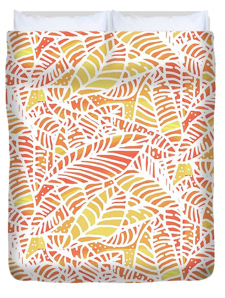 Tropical Sunset Leaves Duvet Cover