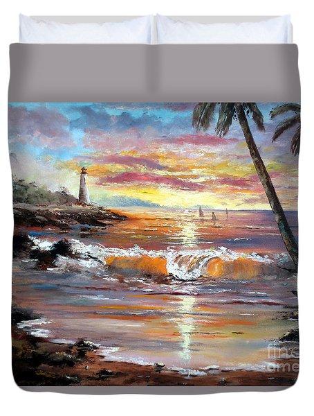 Tropical Sunset Duvet Cover by Lee Piper