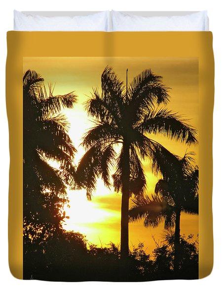 Tropical Sunset Palm Duvet Cover