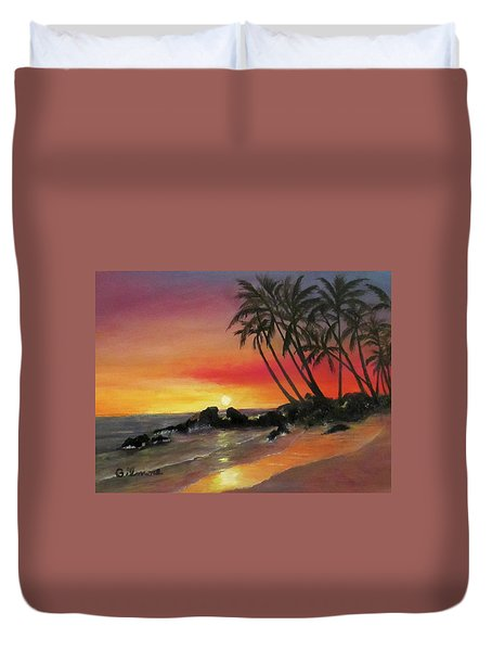 Duvet Cover featuring the painting Tropical Sunset by Roseann Gilmore
