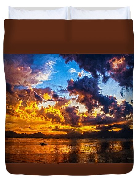 Tropical Twilight I Duvet Cover