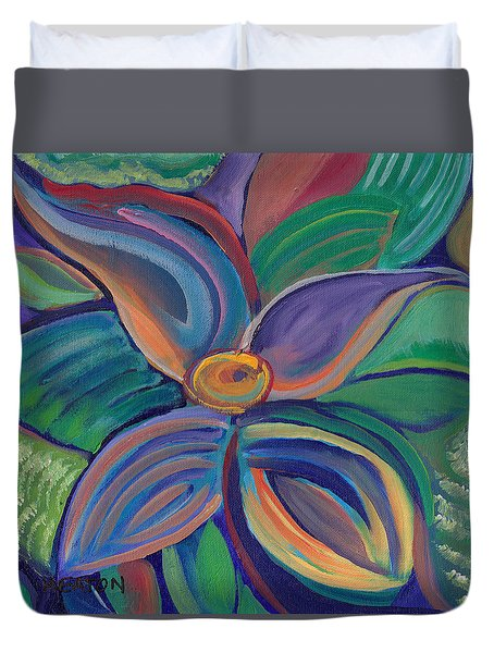 Duvet Cover featuring the painting Tropical Vision by John Keaton