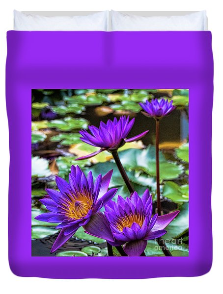 Tropical Water Lilies Duvet Cover