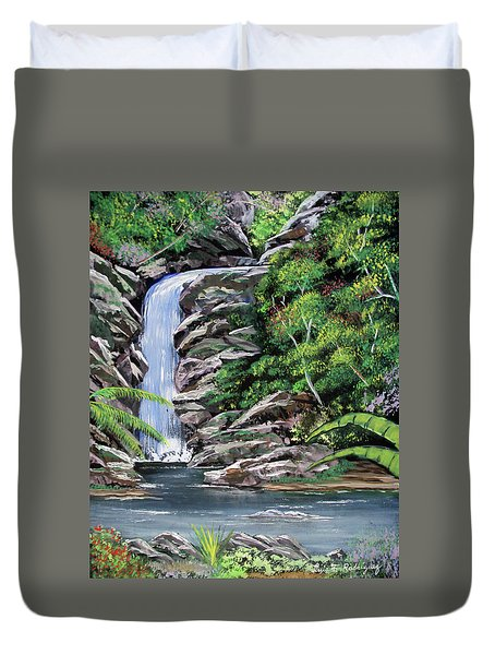 Tropical Waterfall 2 Duvet Cover by Luis F Rodriguez