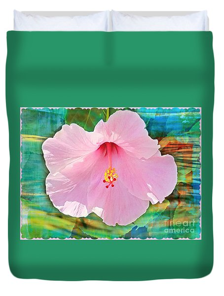 Tropicale Pink Hibiscus Duvet Cover