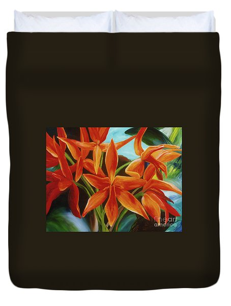 Duvet Cover featuring the painting Tropicana by Donna Hall