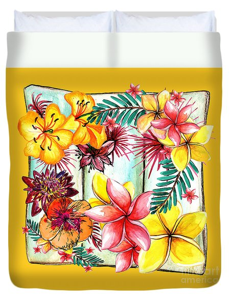 Duvet Cover featuring the photograph Tropicana On Yellow By Kaye Menner by Kaye Menner
