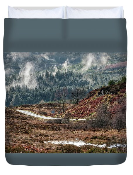 Duvet Cover featuring the photograph Trossachs National Park In Scotland by Jeremy Lavender Photography