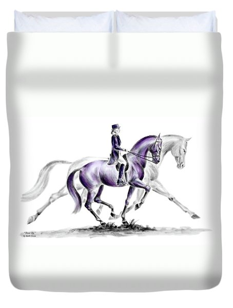 Trot On - Dressage Horse Print Color Tinted Duvet Cover by Kelli Swan