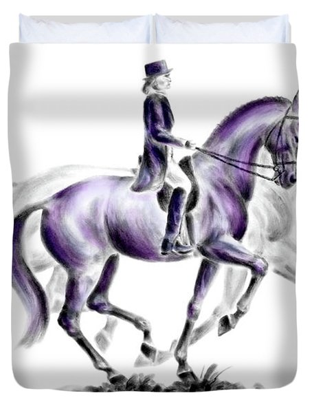 Trot On - Dressage Horse Print Color Tinted Duvet Cover
