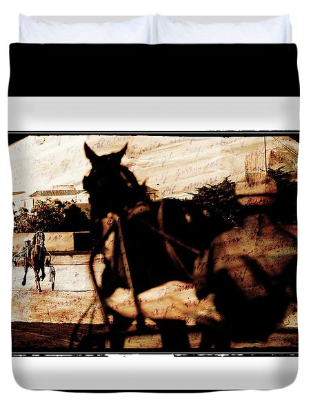 Duvet Cover featuring the photograph trotting 1 - Harness racing in a vintage post processing by Pedro Cardona