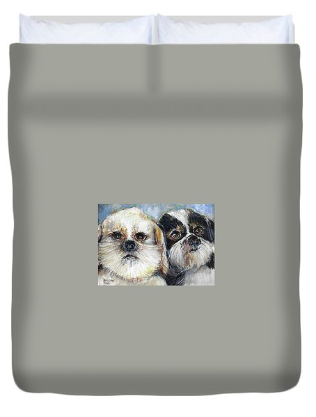 Trouble And Lexi Duvet Cover by Bernadette Krupa