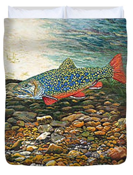 Trout Art Fish Art Brook Trout Suspended Artwork Giclee Fine Art Print Duvet Cover by Baslee Troutman