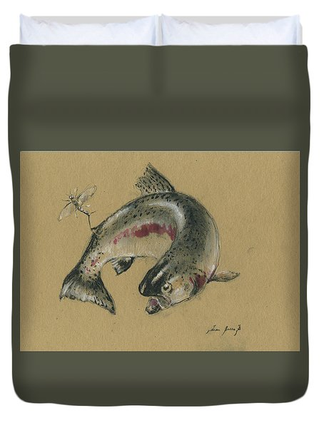 Trout Eating Duvet Cover