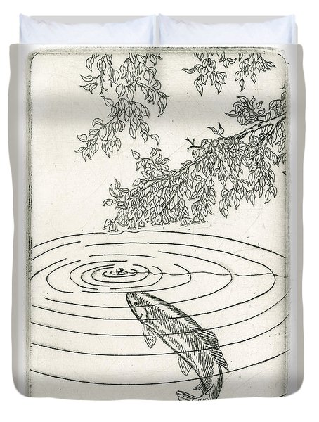 Trout Rising To Dry Fly Duvet Cover