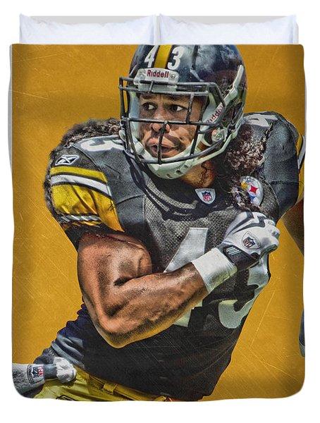 Troy Polamalu Pittsburgh Steelers Art Duvet Cover