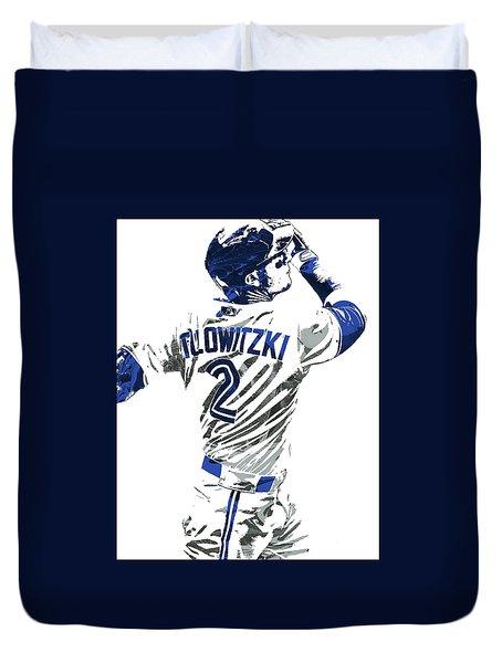 Duvet Cover featuring the mixed media Troy Tulowitzki Toronto Blue Jays Pixel Art 2 by Joe Hamilton