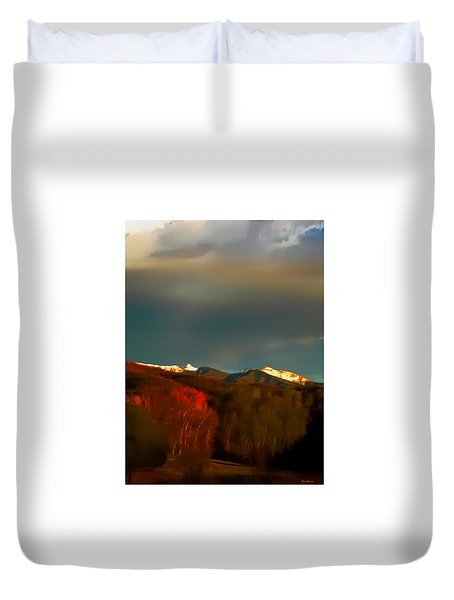 Truchas Peaks Evening Glow  Duvet Cover