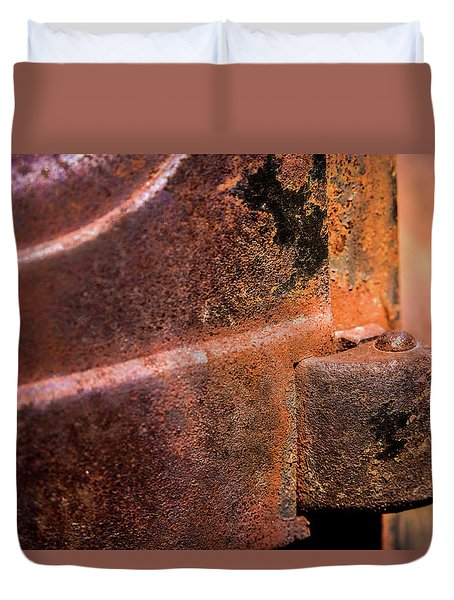 Duvet Cover featuring the photograph Truck Door Hinge by Onyonet  Photo Studios