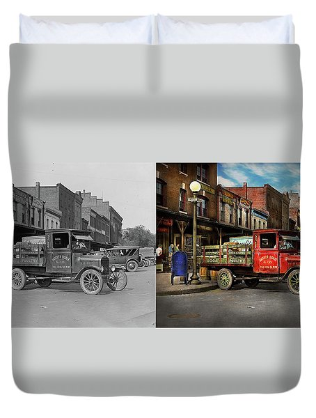Duvet Cover featuring the photograph Truck - Home Dressed Poultry 1926 - Side By Side by Mike Savad