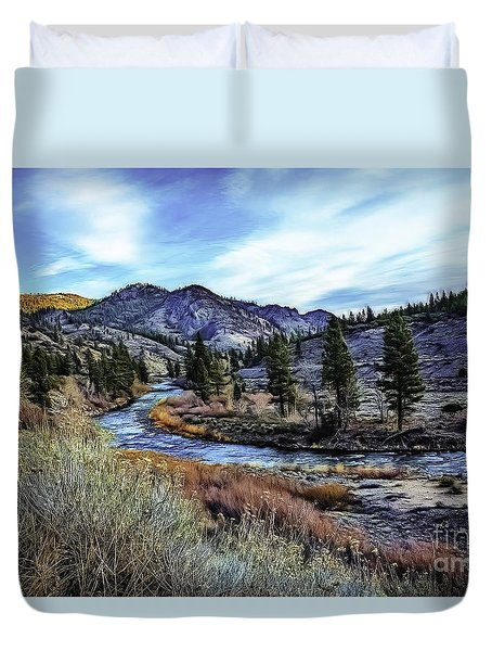 Truckee Morning-d Duvet Cover by Nancy Marie Ricketts