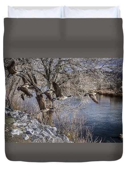 Truckee River Geese Duvet Cover