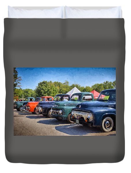 Trucks On Display Duvet Cover by Tricia Marchlik