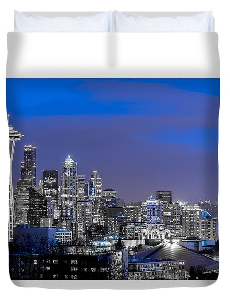 True To The Blue In Seattle Duvet Cover by Ken Stanback