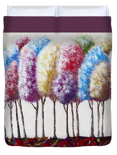 Duvet Cover featuring the painting Truffula Forest by Teresa Wing