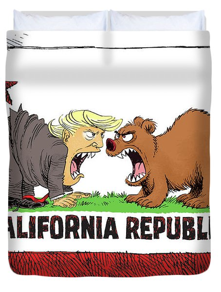 Trump And California Face Off Duvet Cover